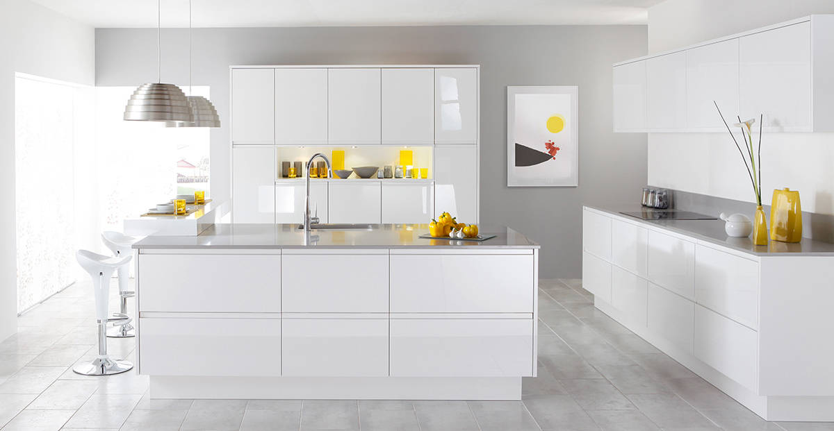 kitchens are favorite rooms for a minimalist aesthetic and a white color scheme and this kitchen does both to the max - One Room Interior Design Ideas