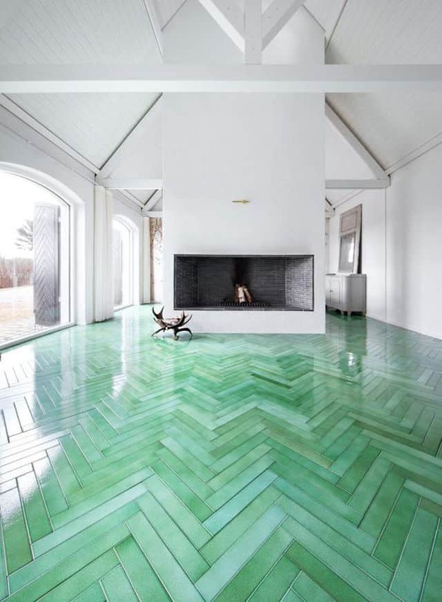 A Green Floor Is Like A Walk In The Park And When Its Wood Look Tile It  Doesnu0027t Matter If You Actually Have Walked In The Mud Since This Faux  Parquet Is ...