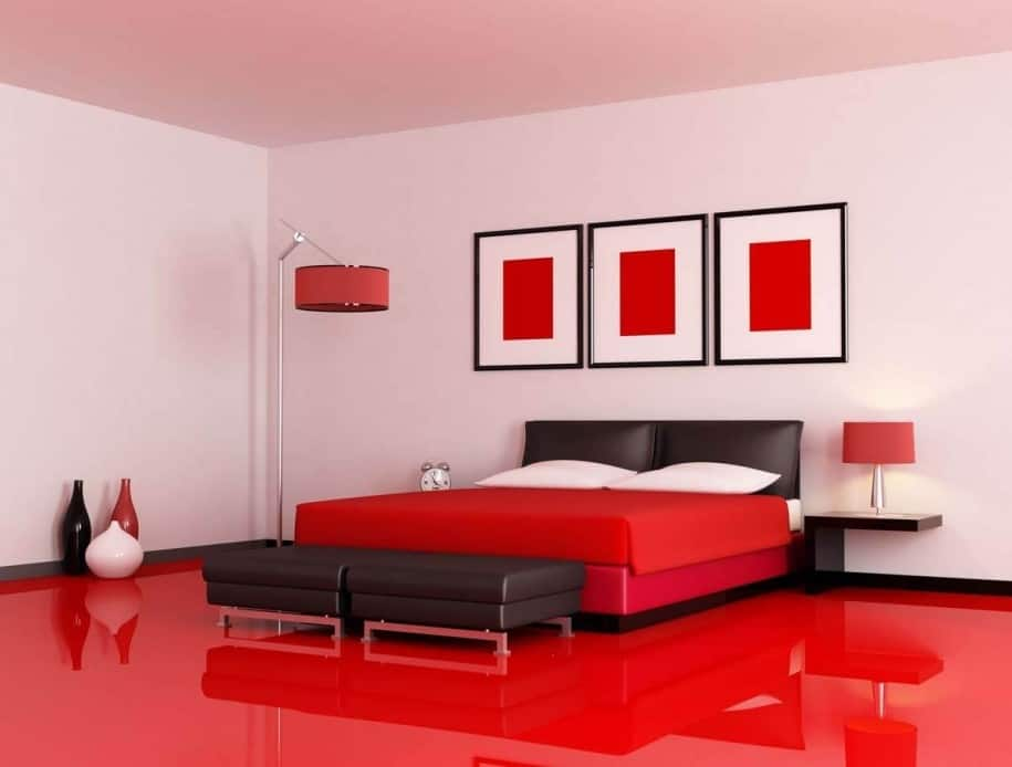 This Ultra Modern Bedroom Showcases A Gorgeous Red Lacquered Floor Paired  With Red Bedding, ...