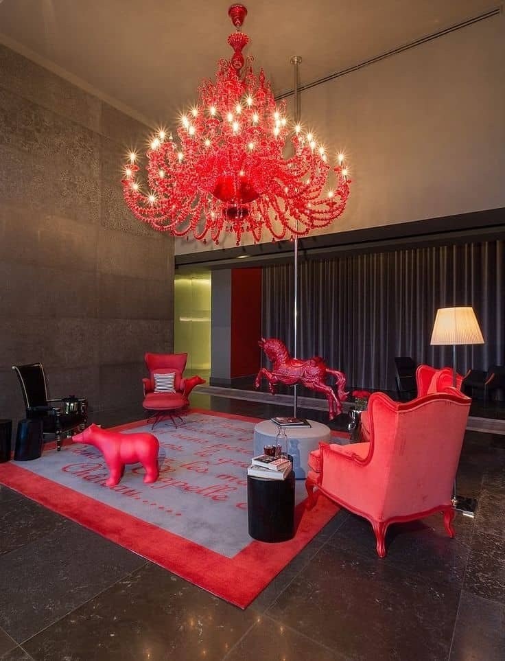 Decorating with red accents 35 ways to rock the look aside from the ceiling the red accents can also be brought into the upper realms of a home via lighting and this precocious chandelier does just that aloadofball Images
