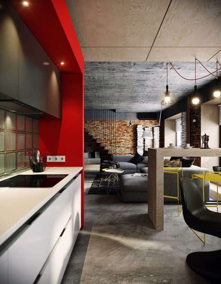 I love this contemporary decor with its brick wall, concrete ceiling and  floor, white lacquered cabinetry, red accent wall and cage lighting with  matching ...
