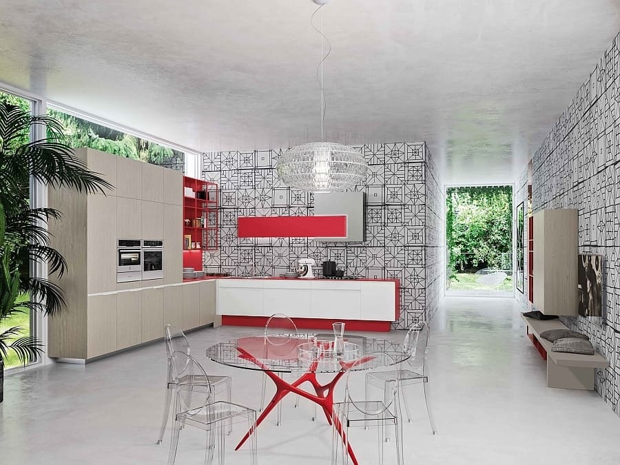 This Snaidero Kitchen And Dining Area Above Spreads The Red Accents Around Uses Them In A Supporting Role Preferring To Make Black White Wall