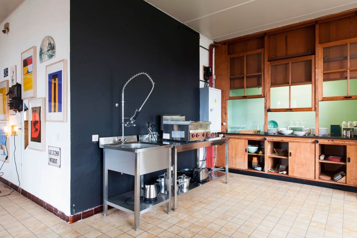 A Temporary Kitchen Was Created Using Commercial Grade Modular Stainless  Steel Units.