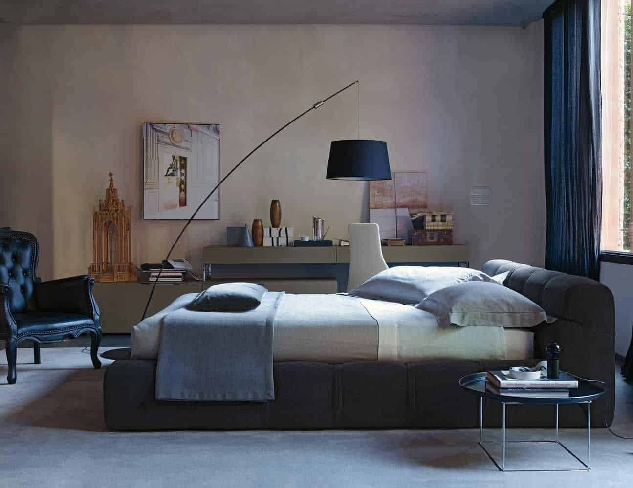 The bedroom above also draws attention to the light above the bed  only  this one is a floor light cantilevered over the bed  What a great way to  incorporate. 50 Modern Bedroom Design Ideas