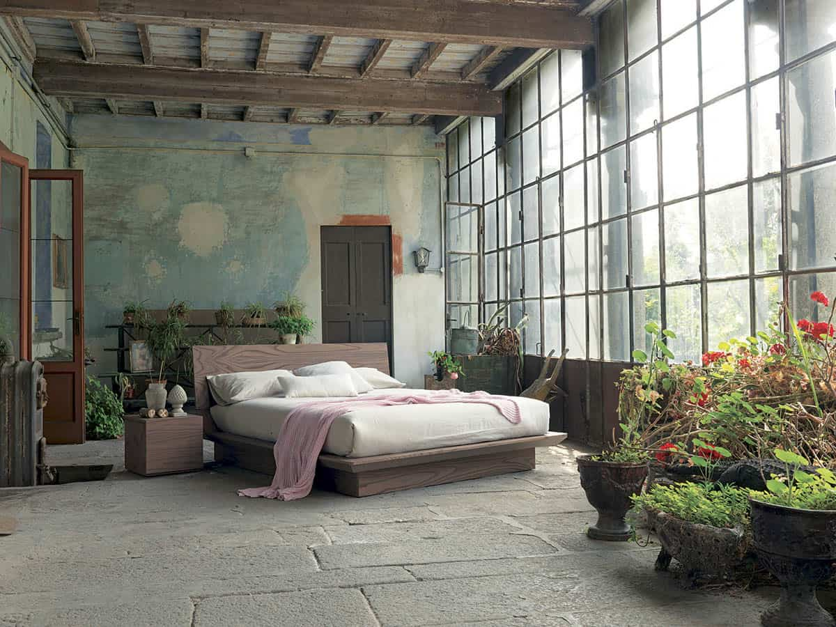 View In Gallery Rustic Bedroom Design With A Distressed Wall Fimar