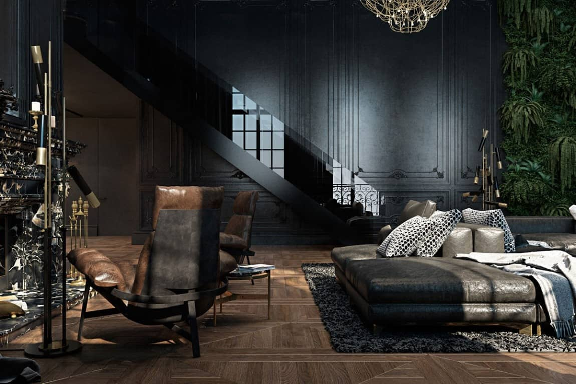 Beautiful black interior showcased in a historic paris for Dark grey interior