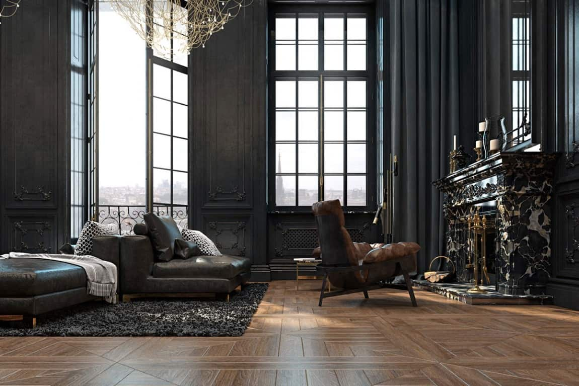 beautiful black interior showcased in a historic paris. Black Bedroom Furniture Sets. Home Design Ideas