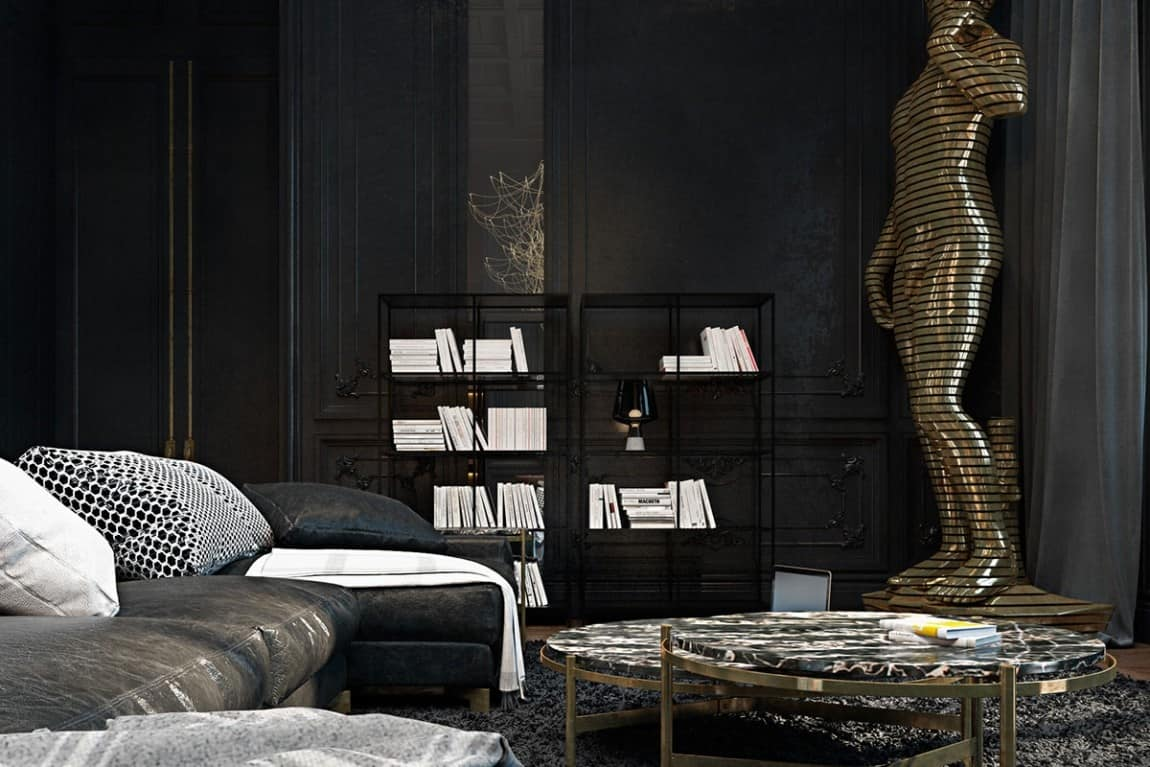 Beautiful Black Interior Showcased In A Historic Paris