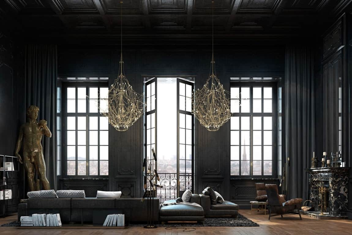Beautiful Black Interior Showcased in a Historic Paris ...