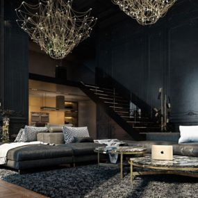 Beautiful Black Interior Showcased in a Historic Paris Apartment