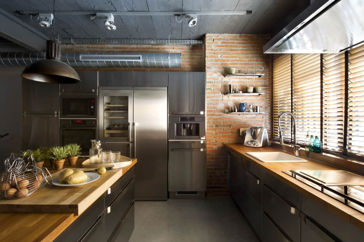 Industrial style kitchen design ideas marvelous images for Cuisine bois brut et noir
