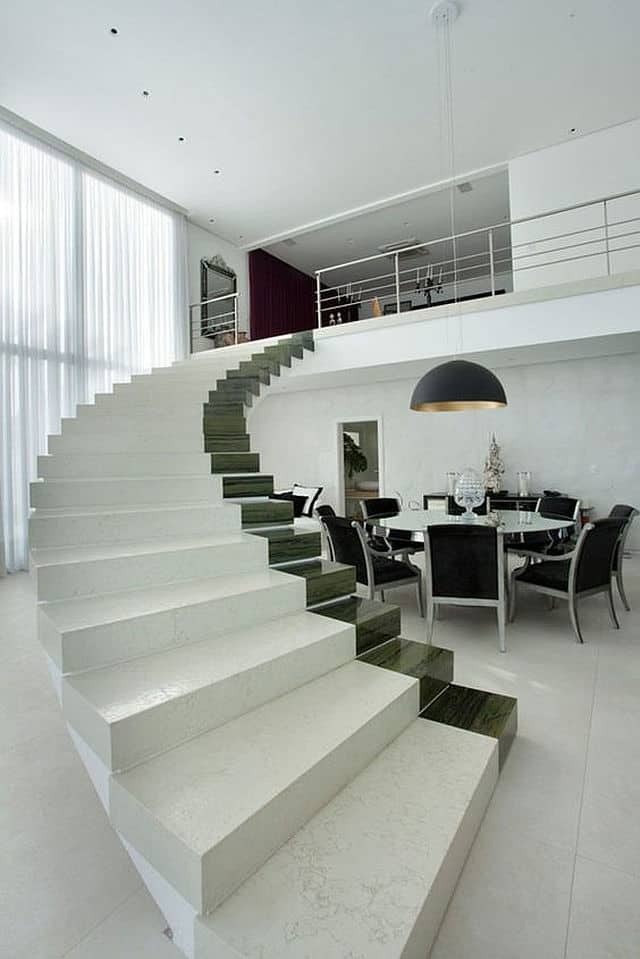 When White And Black Are Thought Of As Colors, Gorgeous Creations Can Be  Composed Such As This Curving Staircase Of White Marble Enhanced With One  12u2033 Strip ...