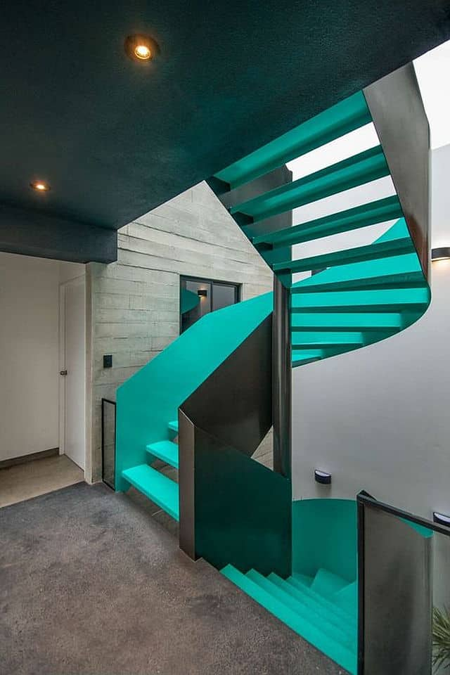 Colorful Staircase Designs on Colorful Metal Art