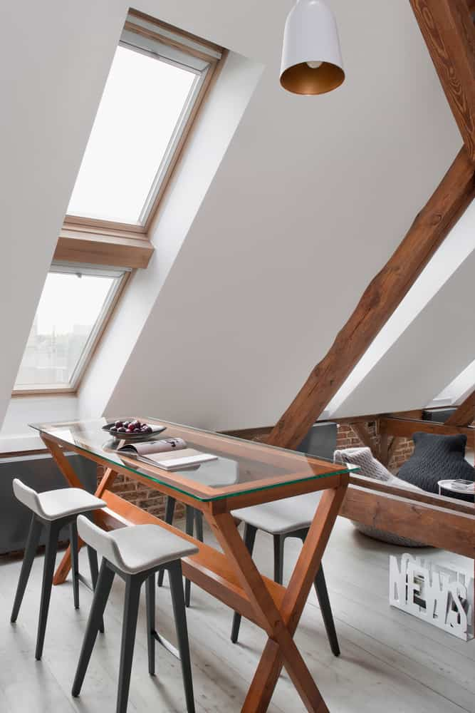 Office Attic Converted Into Loft Apartment Keeping Original Wood - An old attic is transformed into a gorgeous apartment