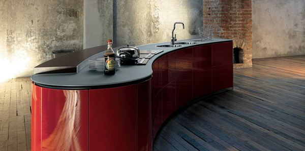 alessi kitchen interiors red Dramatic Kitchen Interior Design by Alessi   Rustic and Ultra Modern combine