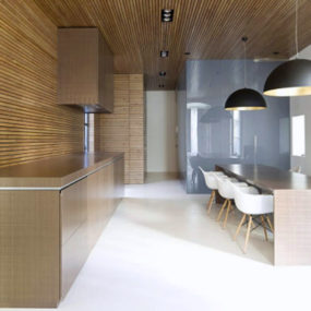 Amazing Zen Like Kitchen with Wood Slat Panelling