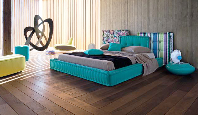 aqua bed roche bobois Rustic Modern Aqua Bedroom Idea by Roche Bobois