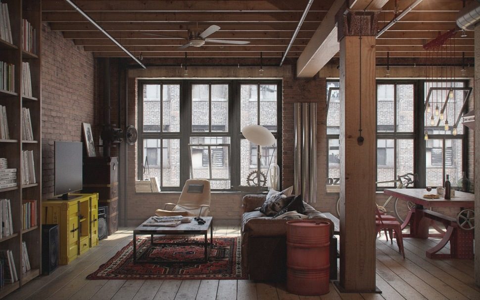 View In Gallery Industrial Urban Masculine Apartment Nordes Living Area  Thumb 630x393 14654 Industrial Influence Abound In Urban Masculine