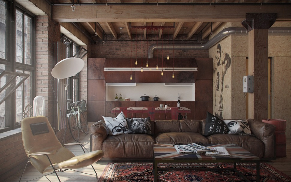 Urban Industrial Furniture In Industrial Influence Abound In Urban Masculine Apartment By Nordes