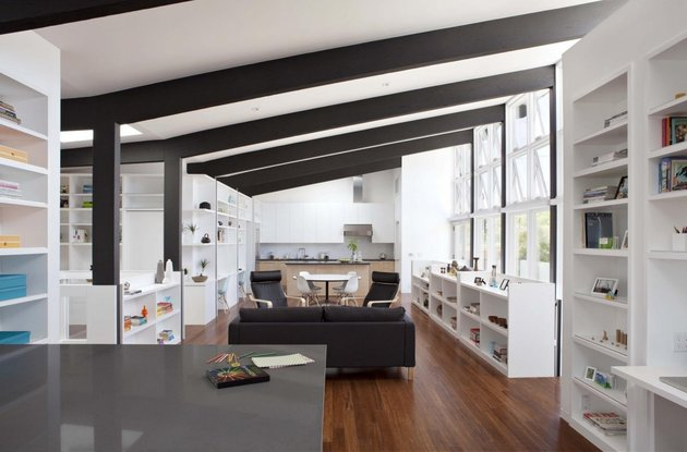 cupertino cubby filled hundreds shelves living room farther thumb 630x415 15824 Cupertino Cubby Home Filled With Hundreds Of Open Shelves