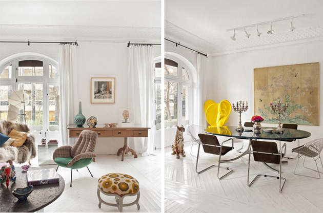 vibrant art and modern furnishings showcased in classic apartment 2 thumb 630xauto 42302 Wonderland esque Apartment by Maria Llado: proving that more is more, and its never enough