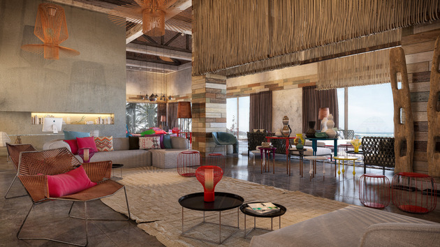 bold colour natural materials cozy interiors 1 lobby thumb 630xauto 43130 Extremely Inviting Interiors by Patricia Urquiola