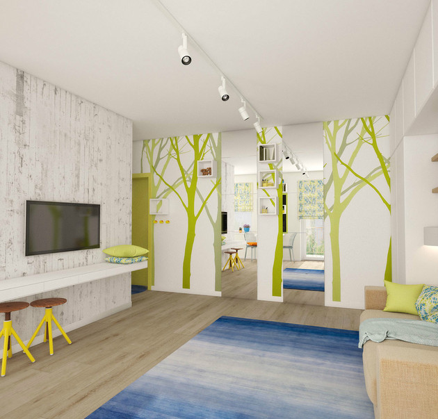 teeny tiny apartment designed bright spacious 1 trees thumb 630xauto 43919 Teeny Tiny Apartment Cleverly Designed to feel Bright and Spacious
