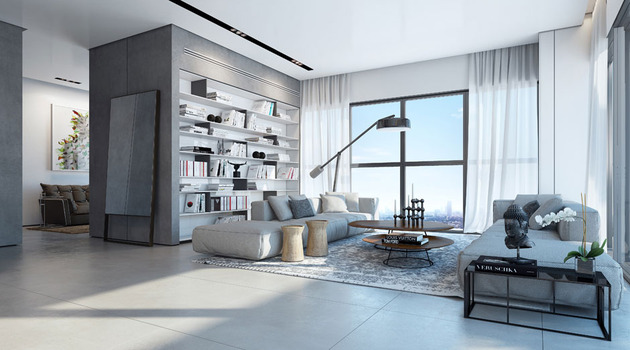 minimalist interior in pale palette makes the views%20pop 1 thumb 630xauto 45860 Decorating with Pale Grey is the Latest Urban Trend