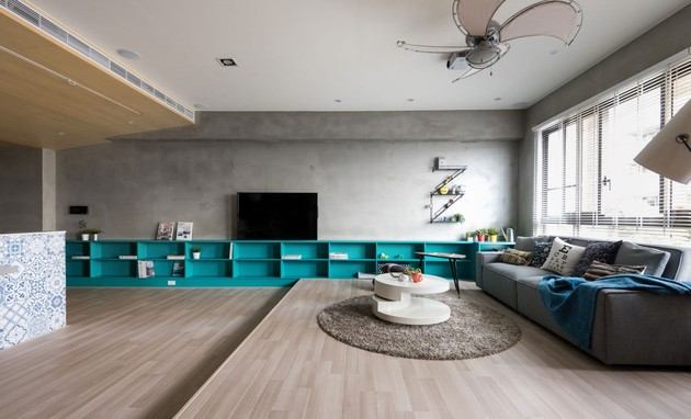 storage wall system 1 turquoise thumb 630xauto 54137 How to Define a Space with a Low Storage Wall System