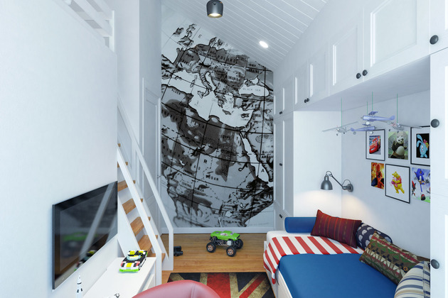 small teenage room design with a loft sleeping quarters 2 thumb 630xauto 54486 Small Teenage Room Design with a Second Floor Sleeping Quarters