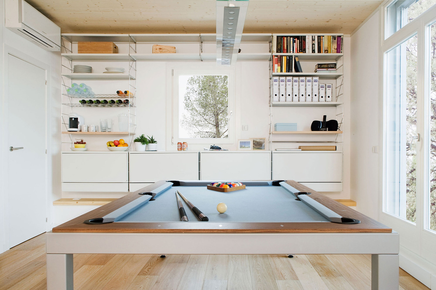 This Kitchen Has A Dining Pool Table Combo - Clear pool table
