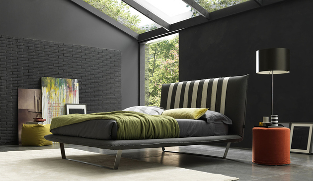 bedroom-with-black-accent-wall-grey-brick-bozlan-lovely-light.jpg
