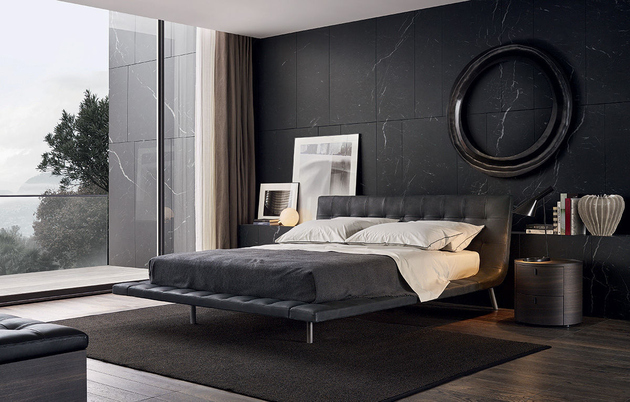 View In Gallery Modern Bedroom With Black Wall And Bed