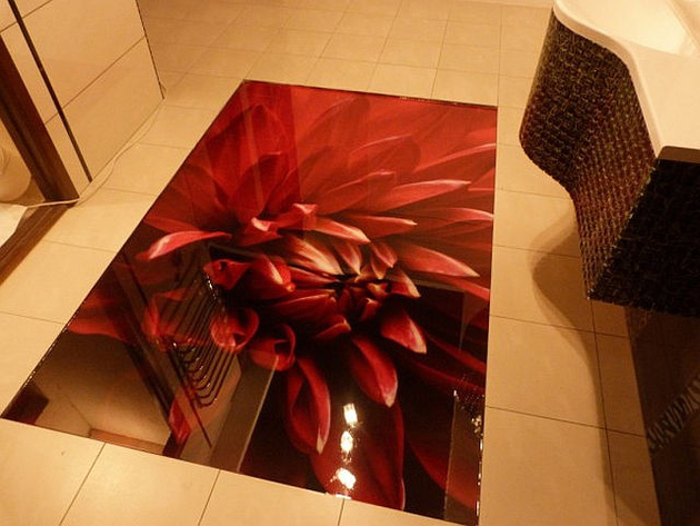 red flower 3d flooring decor thumb 630xauto 62110 Decorating with Red Accents: 35 Ways to Rock the Look