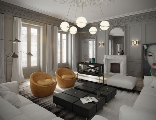 2 classic parisian apartment contemporary%20 interior design thumb 630xauto 65454 Classic Parisian Apartment Has a Fish Tank as a Bar and a Crate Style Kitchen
