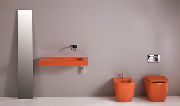 bathroom decorating orange gsg ceramic design Bathroom Decorating Idea from GSC Ceramic Design   A Splash of Color