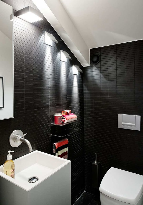 Black bathroom design ideas for Restroom decor ideas