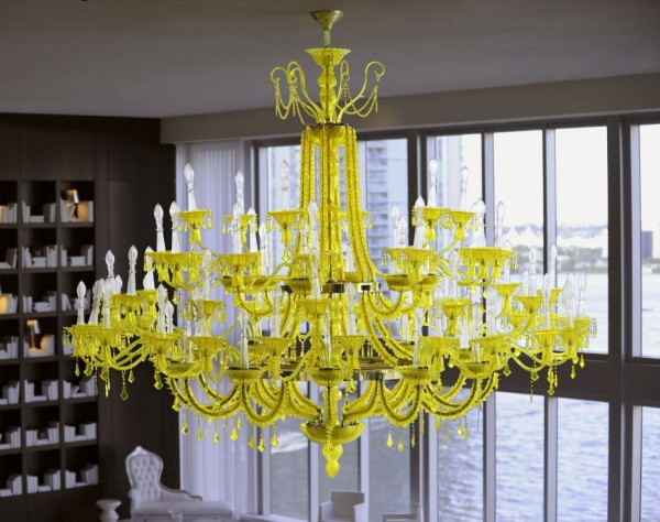 Bold Decor Idea Yellow Chandelier Against Black Walls And