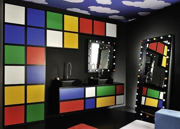 Colorful Bathroom Decor by Delpha – Water Play Multi Colored Bathroom