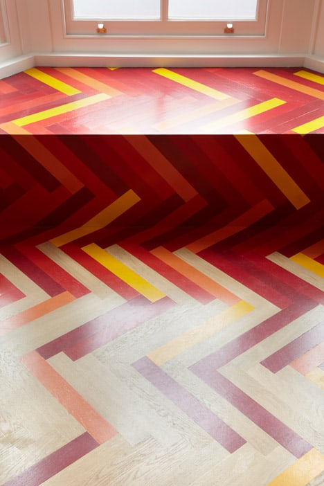 colorful graphic interiors featuring bright herringbone floors 12