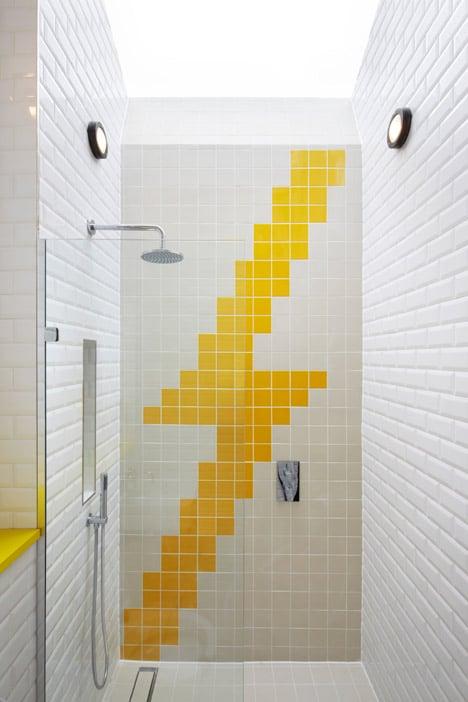colorful graphic interiors featuring bright herringbone floors 18