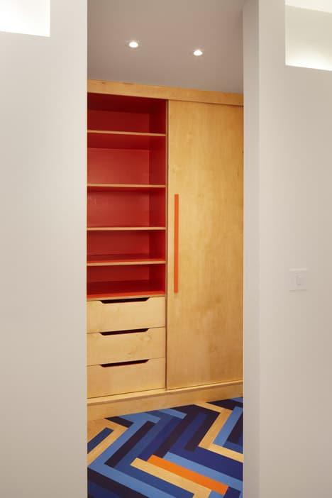 colorful graphic interiors featuring bright herringbone floors 9