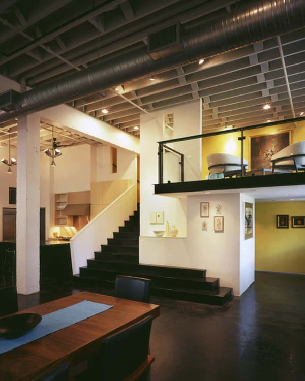 Contemporary Lofts contemporary loft design with mid-century modern interiors