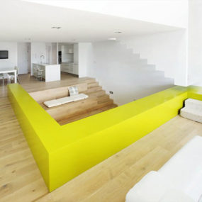 Cool color-blocking technique defines and distinguishes this modern interior