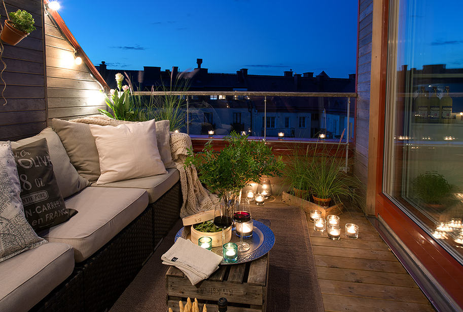 Cozy apartment decorated in pure modern scandinavian style for Balcony at night