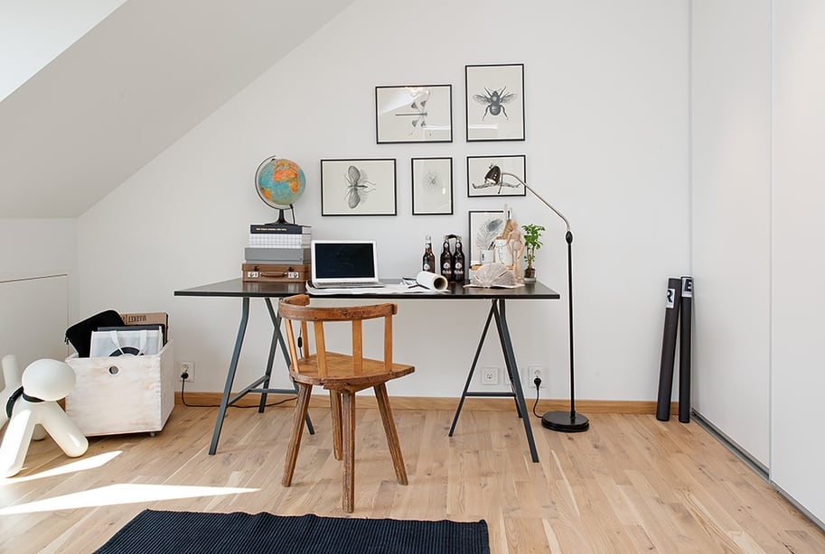 View In Gallery Cozy Apartment Scandinavian Style Home Office 1