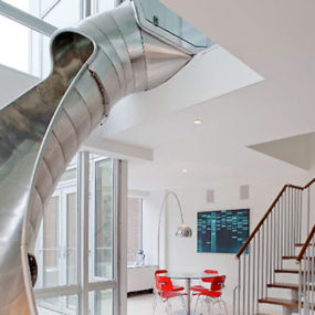 Creative Staircase Alternative – a penthouse with a slide