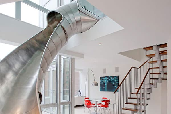 creative staircase alternative nyc home slide 4 Creative Staircase Alternative – a penthouse with a slide
