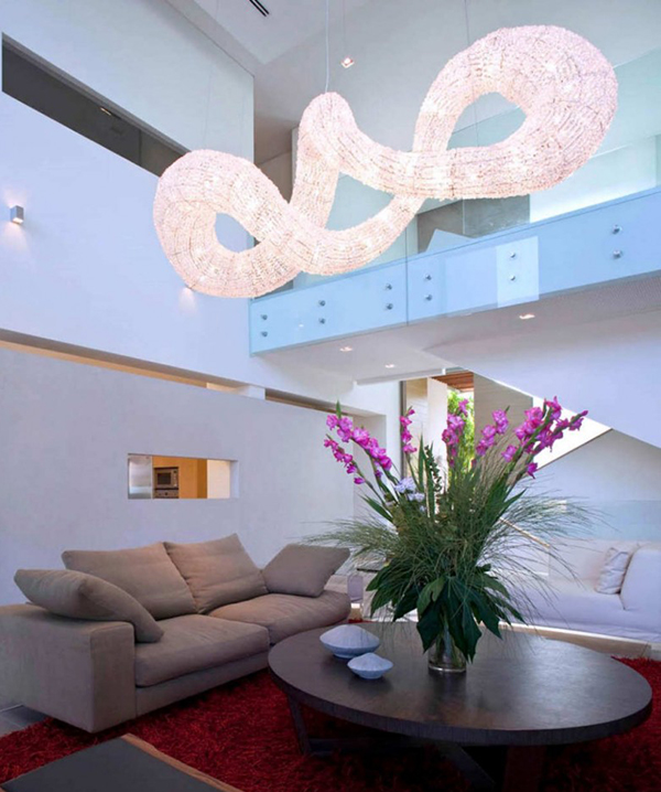 dramatic pendant light effect living room interior 1