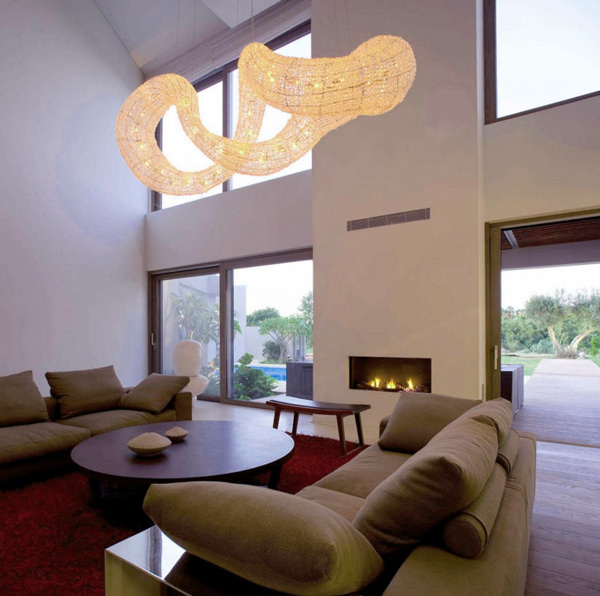 View In Gallery Dramatic Pendant Light Effect Living Room Interior 3